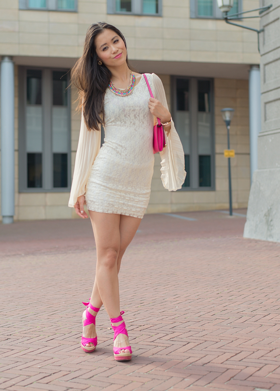 Outfit-my-huong-cocktail-dress Oufit: Romantic White with Pink