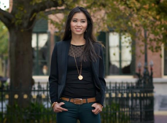 My-Huong-herfstlook Outfit: the petrol skinny jeans