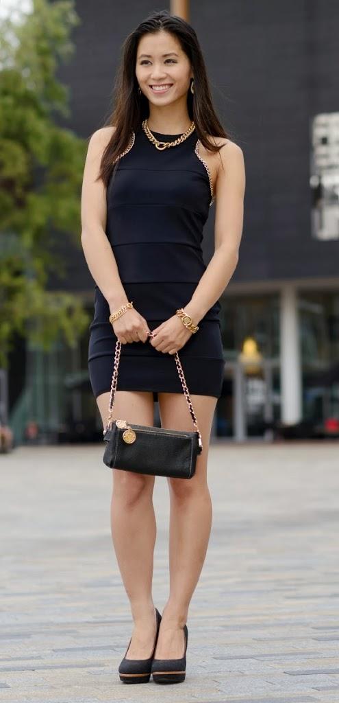 My-Huong-outfit-dress Outfit: Zwart jurkje met gouden accessoires