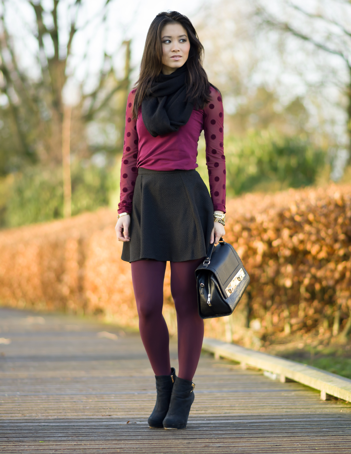 Burgundy outfit post