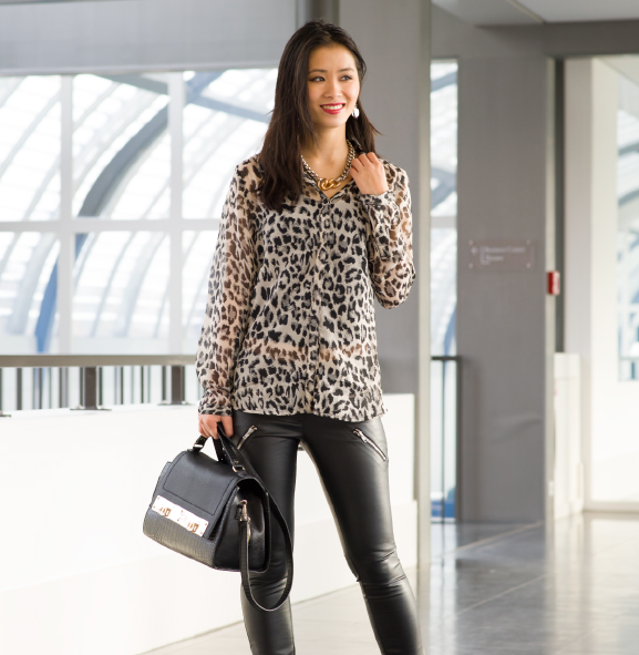 Outfit-my-huong-blac-christmas Outfit: Leather pants vs. Animal print top