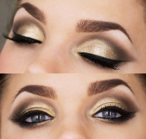 goud-bruine-smokey-eye-look-met-eyeliner-en-mooi-opgezette-wenkbrauwem-577x551 Inspiratie: Feestelijke make-up look
