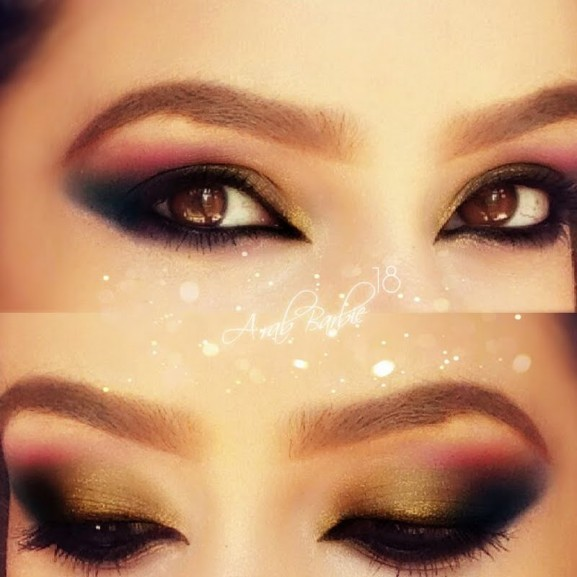 groen gele kerst make up look smokey eye