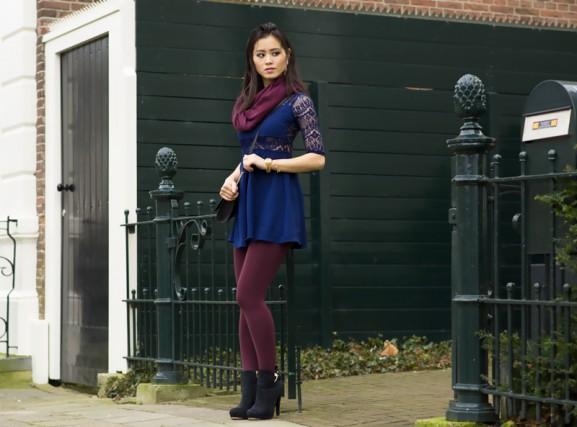 blauw snoezig jurkje hm burgundy miss roberta