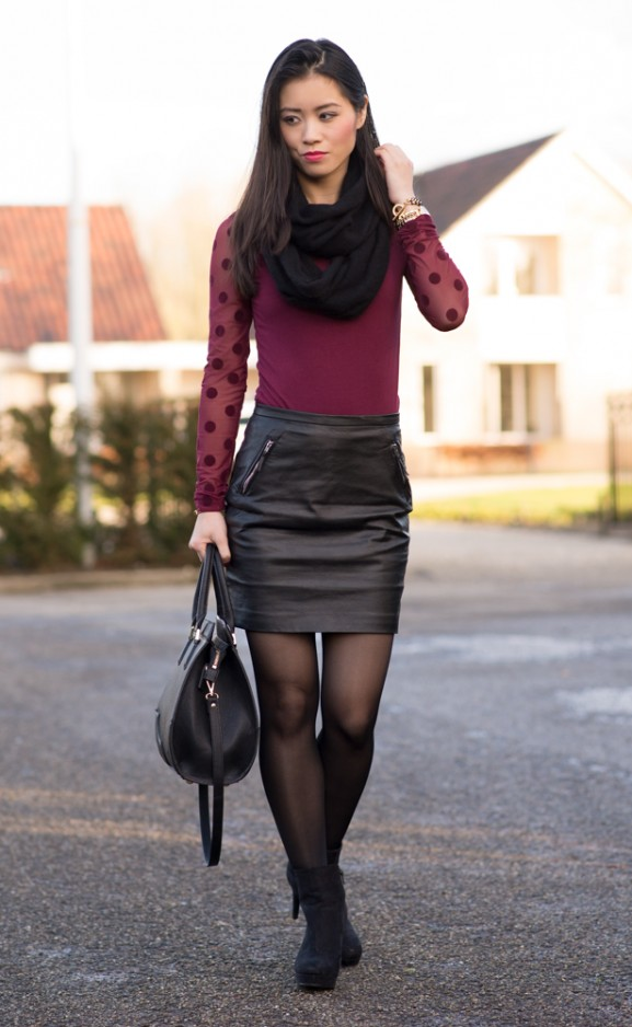 Burgundy Skirt Leather outfit