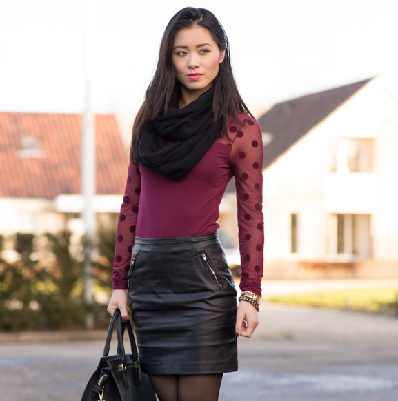 leather skirt top rok