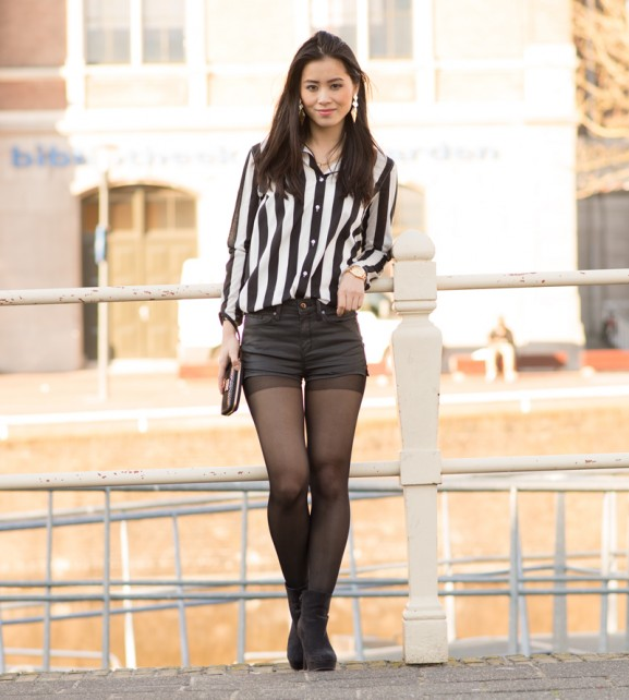 my-huong-outfit-look-ootd-black-hotpants-577x642 Outfit: Striped Blouse and Hotpants