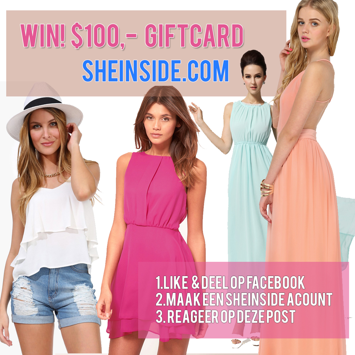 win-sheinside-giftcard-couponcode-sheinside-com Win! Sheinside $100,- Fashion Giftcard
