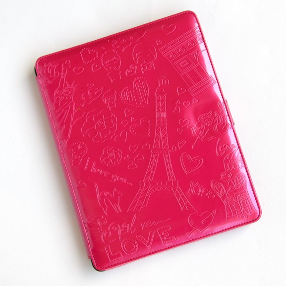 Fuchsia--roze-i-love-you-glanzend-romantische-tablethoes-voor-de-iPad-2 roze hoes