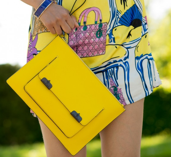 alexander-wang-clutch-yellow-577x532 Outfit: Colourfull Dior Dress