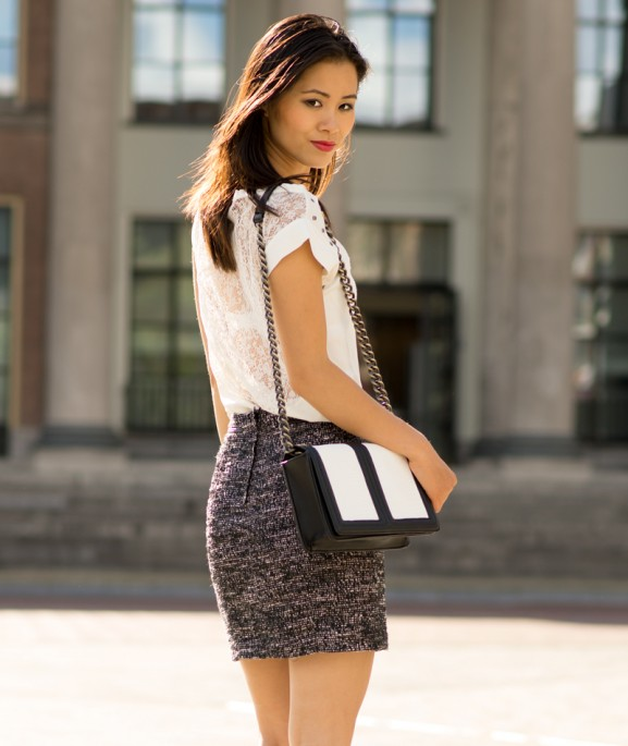 My-Huong-white-top-black-tweed-skirt-bag-chanel-look-a-like