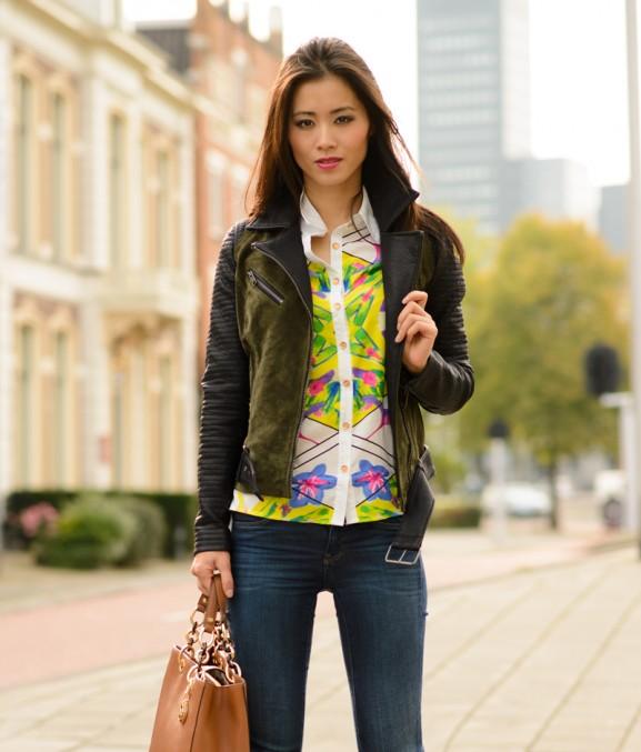 Bikerjacket-only-colour-blouse-577x677 Outfit: Colour splash blouse