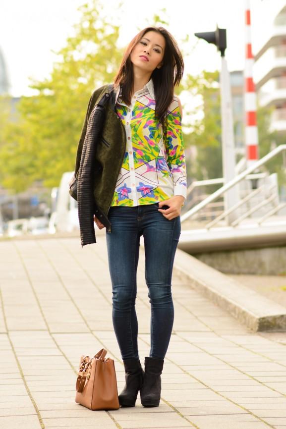 My-huong-colour-blouse-with-biker-jacket-577x866 Outfit: Colour splash blouse