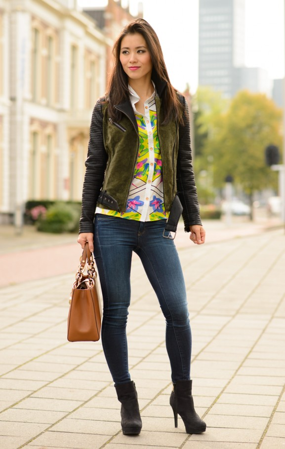 Outfit-My-Huong-only-bikerjacket-colour-blouse-jeans-577x907 Outfit: Colour splash blouse