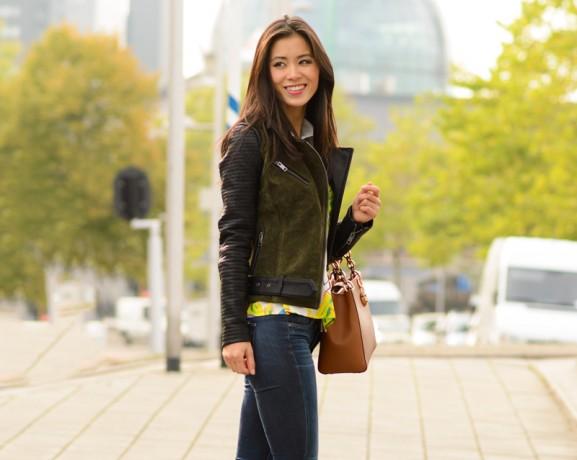my-huong-only-biker-jacet-micheal-kors-bag-577x460 Outfit: Colour splash blouse