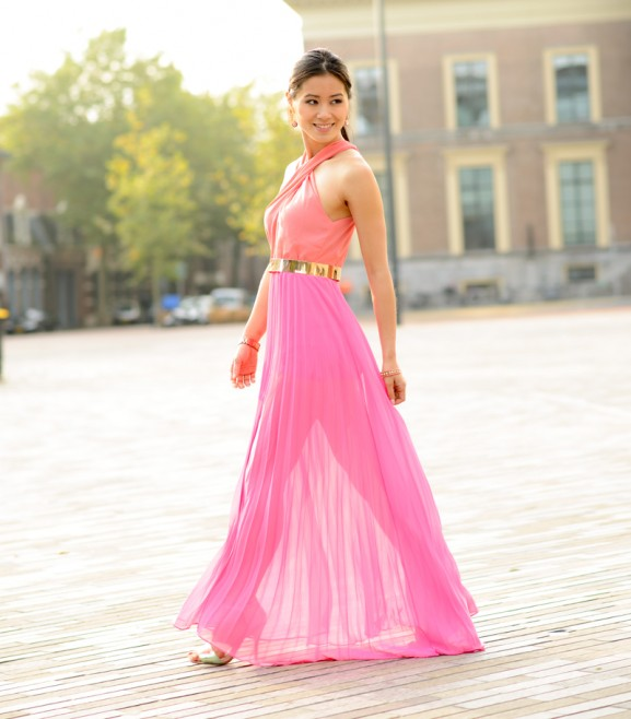 Maxi-dress-pink-sleeve-gold-sheinside-blogger-zaailand-fashion-my-huong-577x658 Outfit: Pink Maxi-dress
