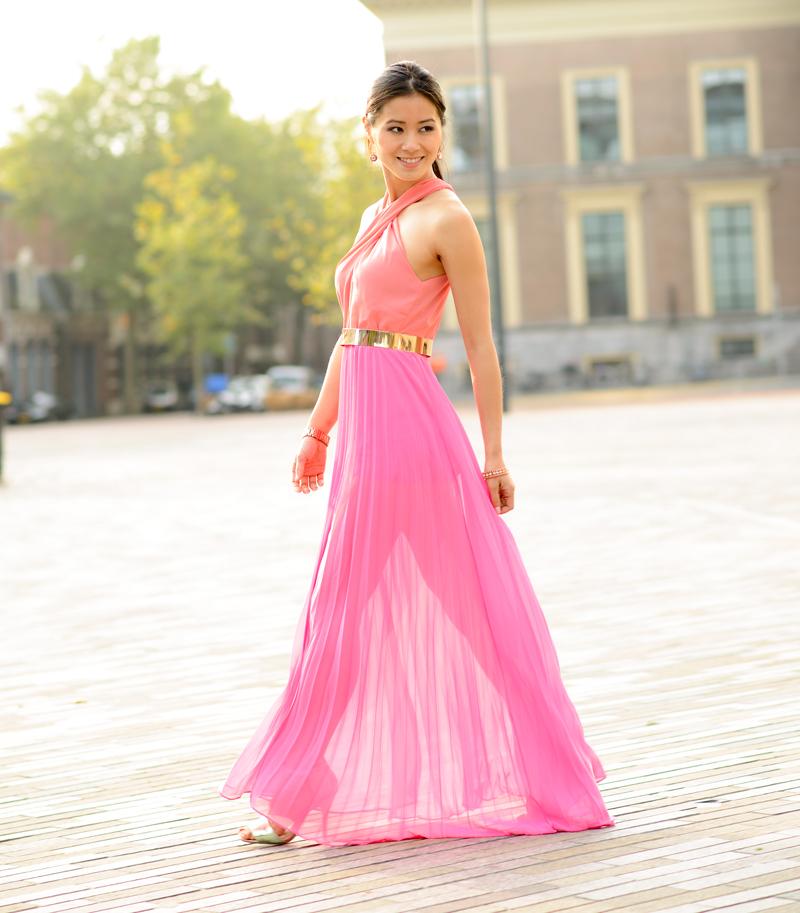 7e494124db04e2 Maxi-dress-pink-sleeve-gold-sheinside-blogger-zaailand- ...
