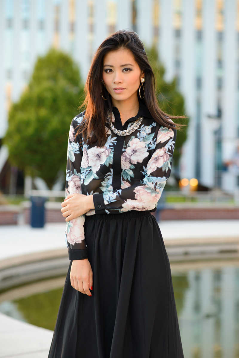my-huong-primark-blouse-flowers-skirt-maxi-black-outfit