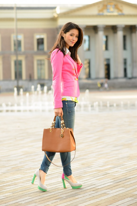 outfit-look-pink-geographic-blouse-sheinside-blogger