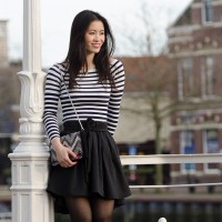 Harlingen striped top black skirt