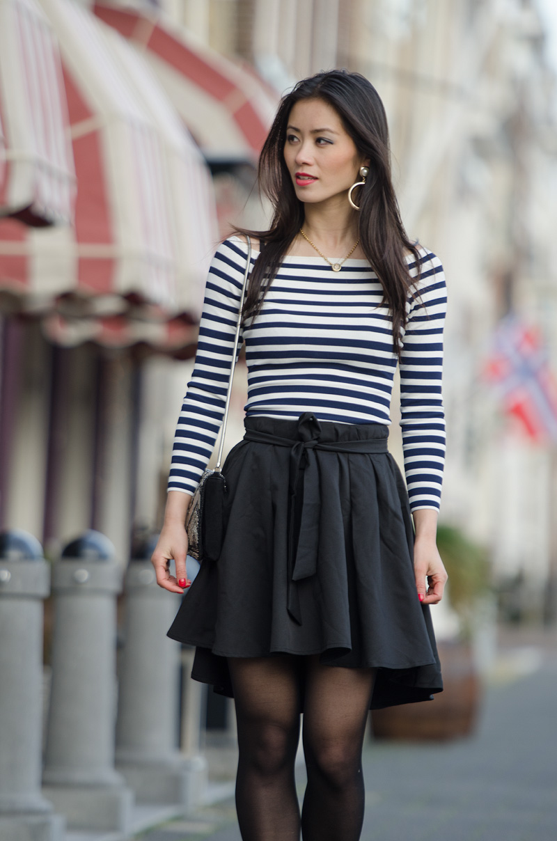 Huong My outfit Striped sheinside black skirt