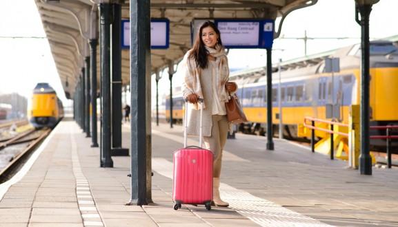 station-leeuwarden-Intercity-Den-Haag-Bagage-Online-Koffer-roze-handbage