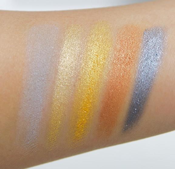 Swatches-onderste-rij-577x558 MUA Eyeshadow palette- Going for Gold
