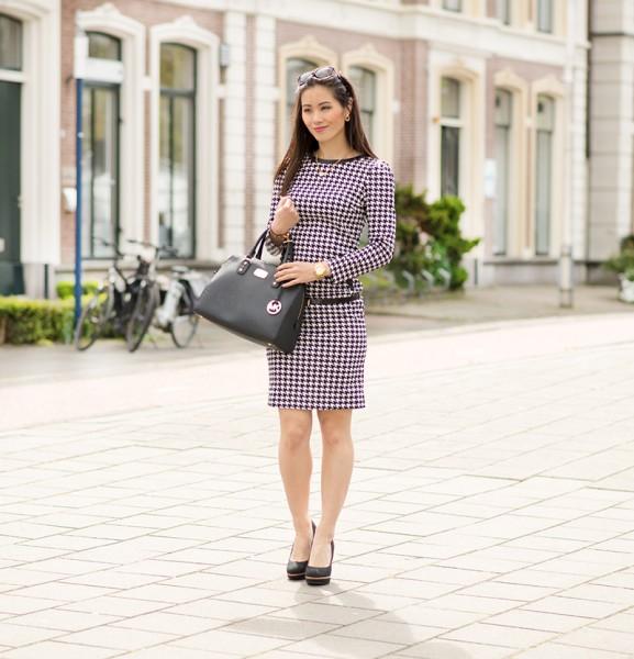 Pied-de-poule-print-dress-577x600 Outfit: Pied de Poule jurk