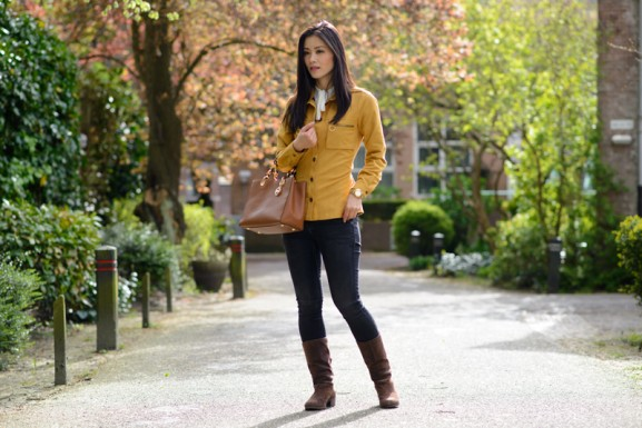 my-huong-oker-geel-look-outfit-577x385 Outfit: Okergeel suede jack