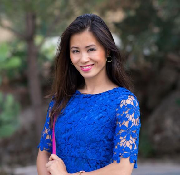 My-Huong-Kobalt-blauw-look-Fuschia-Michael-Kors-Satchel-577x561 Outfit: Kobalt Blauw jurkje vs. Fuchsia accessoires