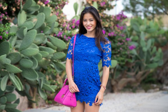 kobalt-blauw-jurkje-look-michael-kors-Fuschia-roze