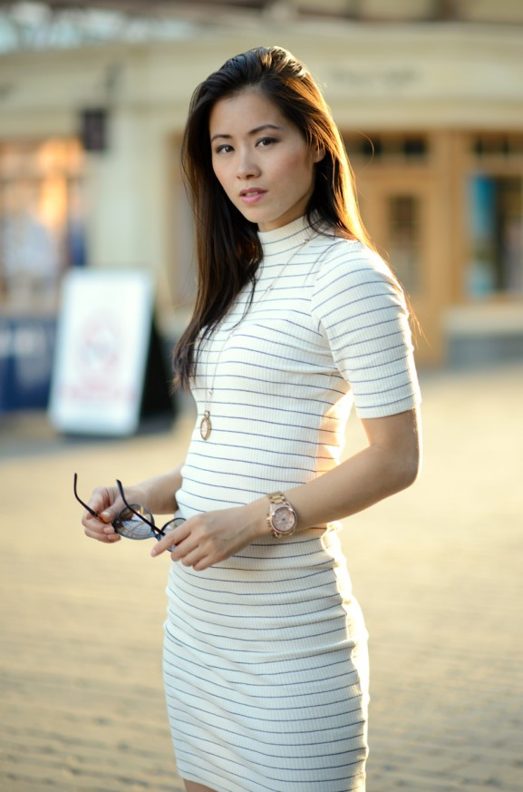 my-huong-Striped-dress-long-dress