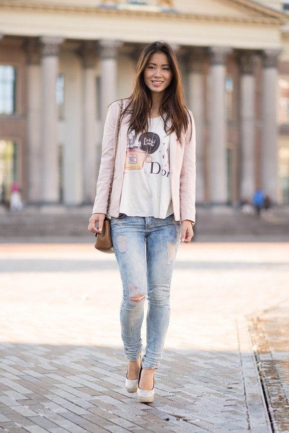 My-huong-total-look-dior-Blazer-pink--577x863 Outfit:  Ripped jeans and blazers