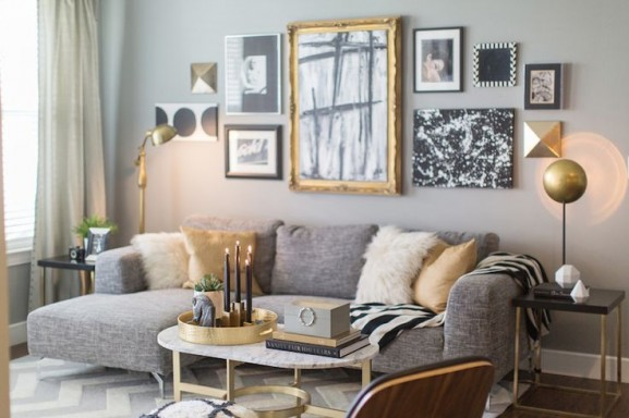 Gold and grey wall