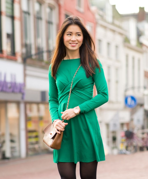 My-Huong-look-outfit-Green-sheinside-dress