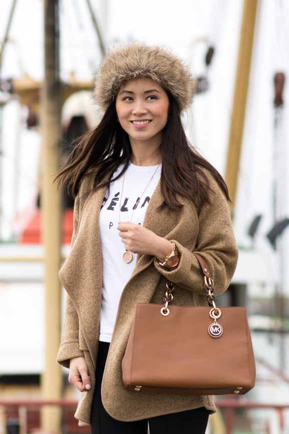Sheinside-coat-brown-hat-fluffy-russian