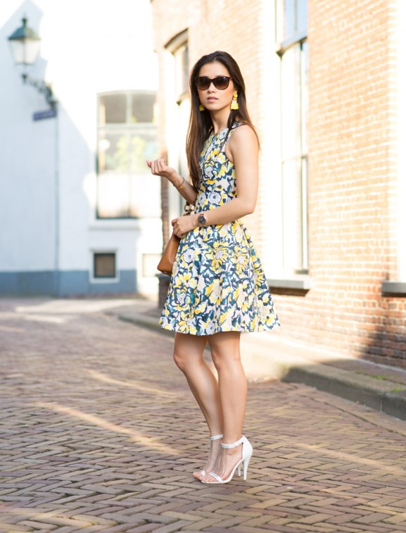 Outfi-floral-yellow-green-dress-The-Beauty-Musthaves