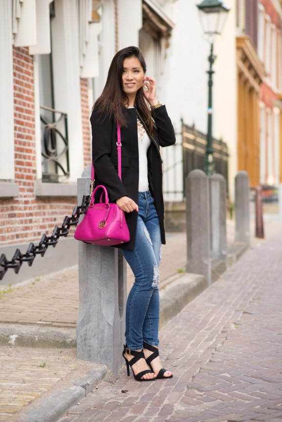 my-huong-outfit-sheinside-mk-pink-satchel-577x864 Outfit: Ripped Denim Jeans
