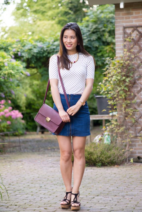 My-Huong-outfit-A-line-rok-jeans-hm-Burgundy-tas-Primark