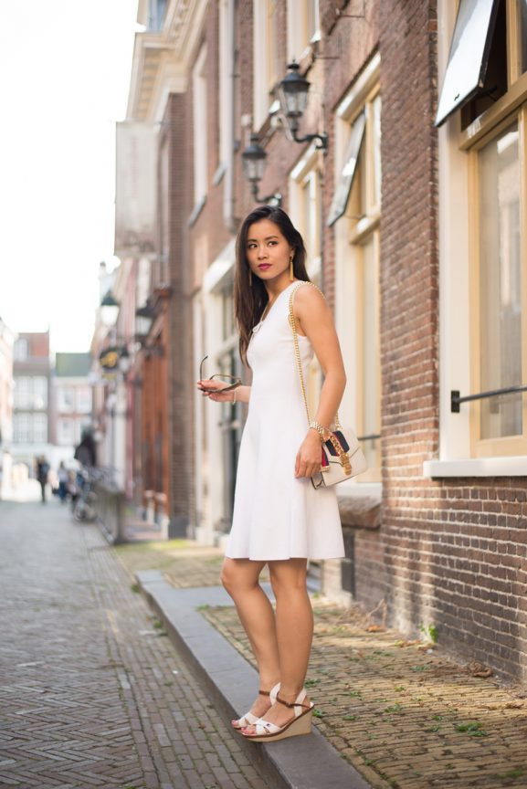 White_sandro_dress_outfit_tommy_Gucci_bag_