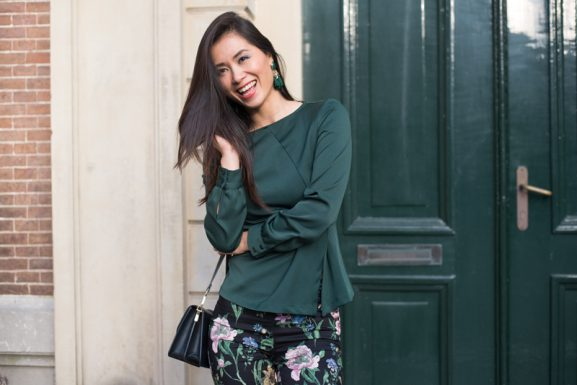 Forest green outfit _Dark green pantswith Flowers_Zara_ 2017 Winter